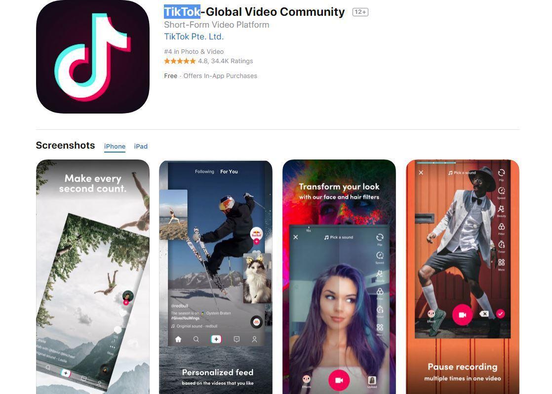 TikTok下載頁面。圖/擷自App Store