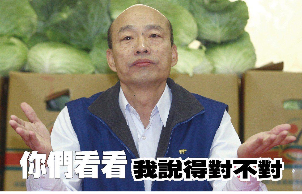 看看過去韓國瑜評論黨內大老,就知道是否真如他所言「手心手背都是肉」。圖為2017...