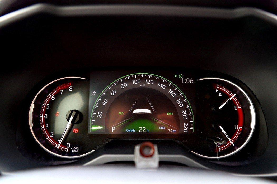 儀錶板配備7吋MID儀錶顯示螢幕,油車部分左右兩側則分別是傳統的轉速錶、油量與水...