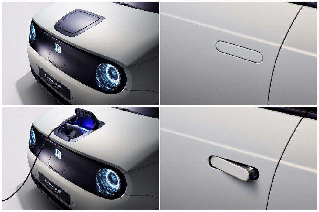 Honda e Prototype採用彈跳式車門把手,而其充電孔放置在傳統引擎蓋...