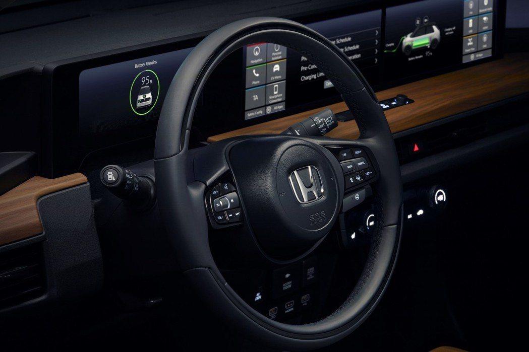 Honda e Prototype 多功能方向盤。 摘自Honda