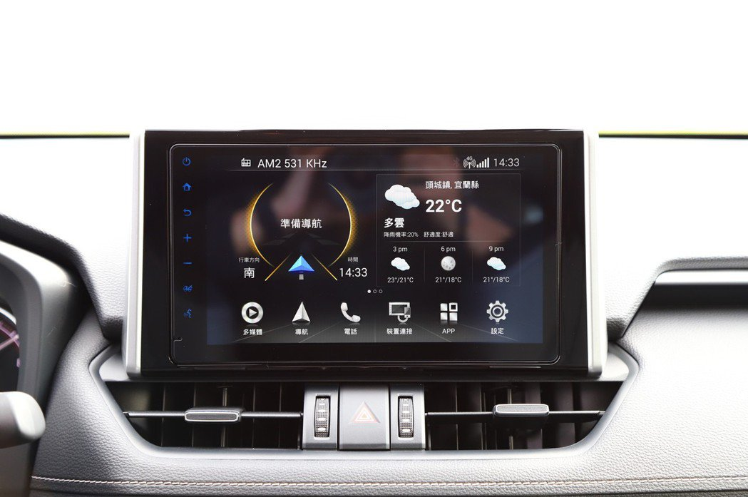 中控台的9吋螢幕相當顯眼,搭載全新的「TOYOTA Drive+ Connect...