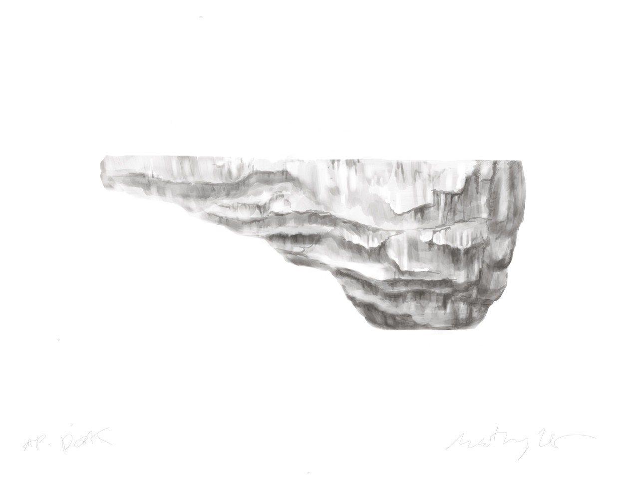 工匠的工作台設計草圖,造型如巨石。圖/愛彼表提供