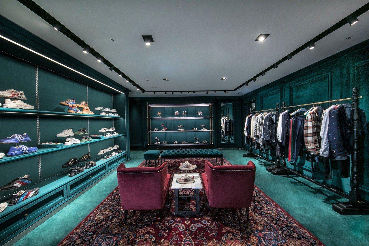 Gucci高雄漢神百貨專門店,男裝樓層以綠色調為主。圖/Gucci提供