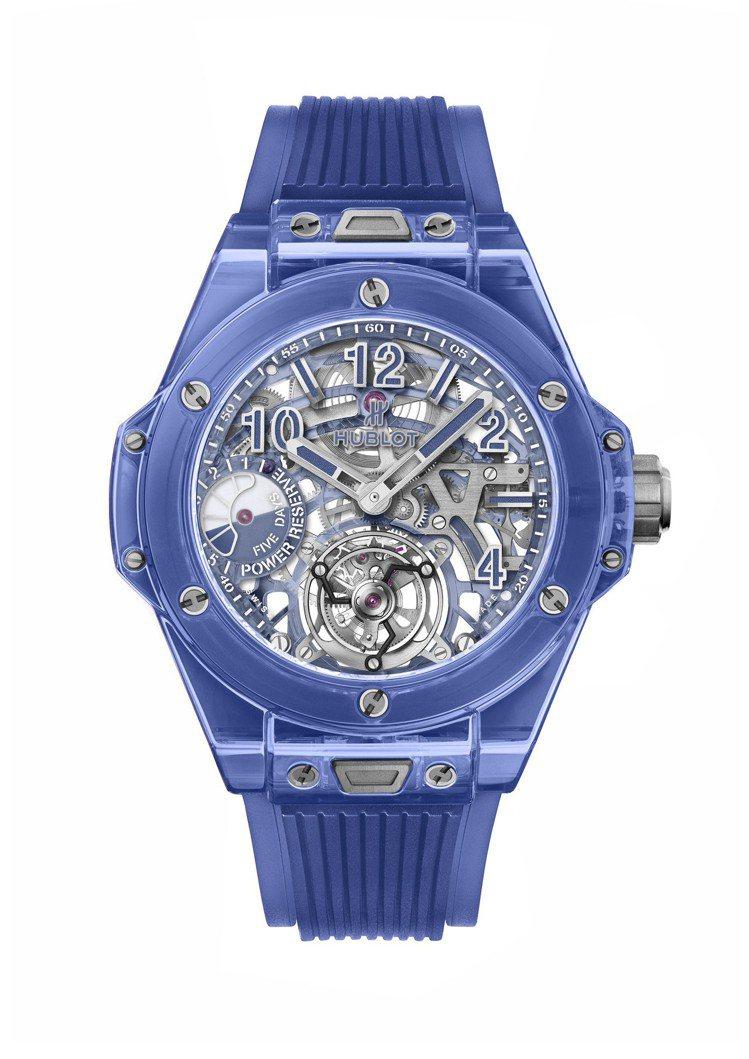 宇舶Big Bang藍色藍寶石陀飛輪五日鍊腕表,拋光藍色藍寶石水晶表殼與表圈,全...