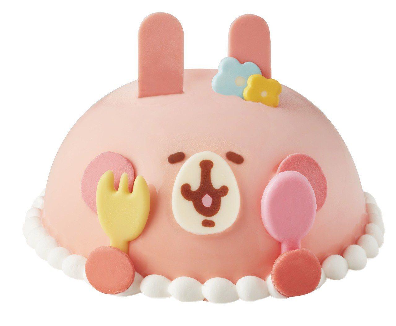 三貝多卡娜赫拉粉紅兔兔只愛媽咪聯名款冰淇淋蛋糕,售價1,480元。圖/7-ELE...