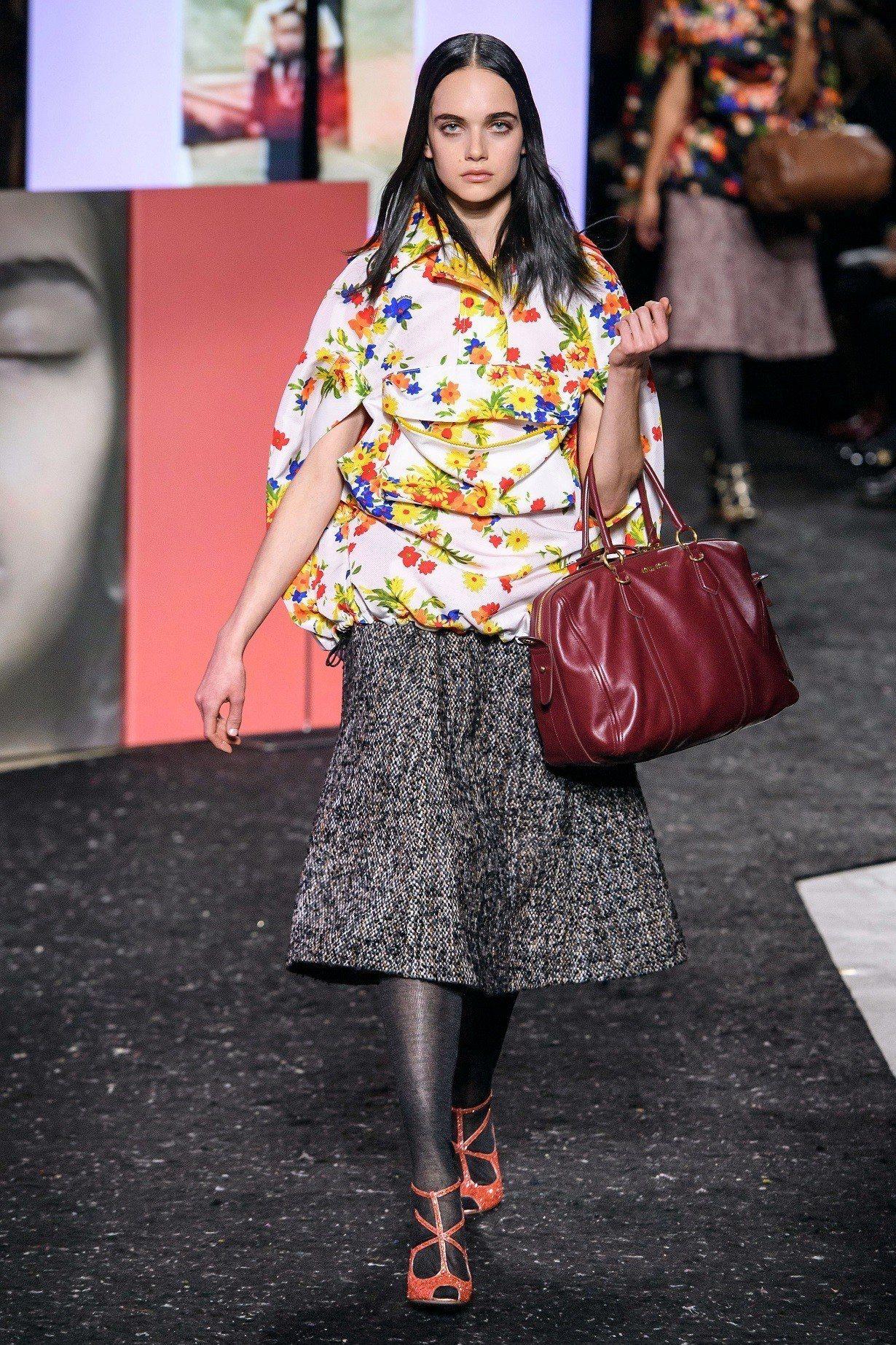 本季女性包款復古經典的中小型手提包為主搭配上各種多元材質。圖/MIU MIU提供