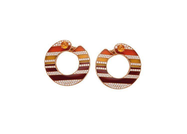 寶格麗Wild Pop系列頂級紅黃棕玉髓與鑽石耳環。圖/BVLGARI提供
