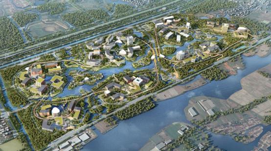 華為上海青浦研發基地概念規劃鳥瞰圖。圖/觀察者網