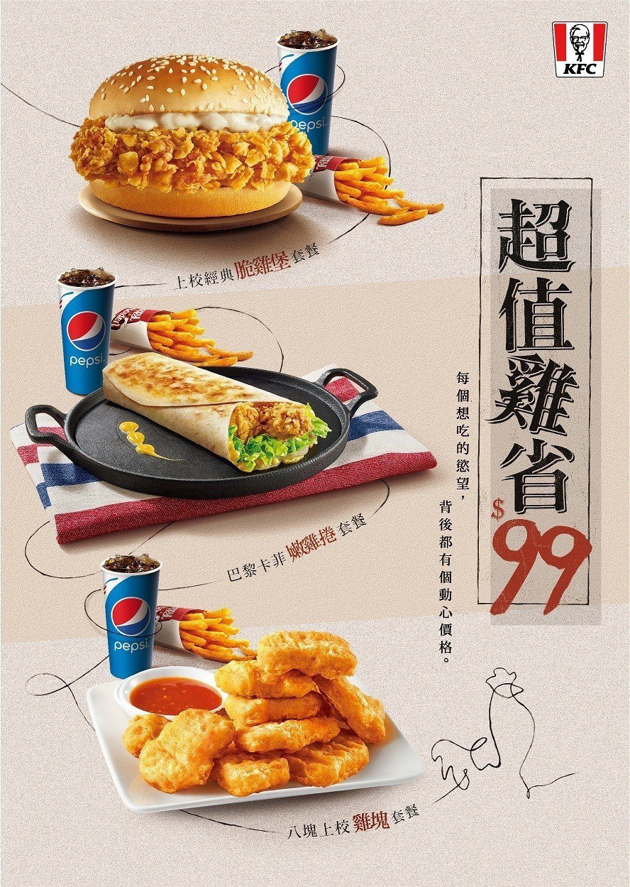 肯德基推「超值雞省$99」,百元有找即可享主餐、配餐及飲料的超值搭配。肯德基/提...