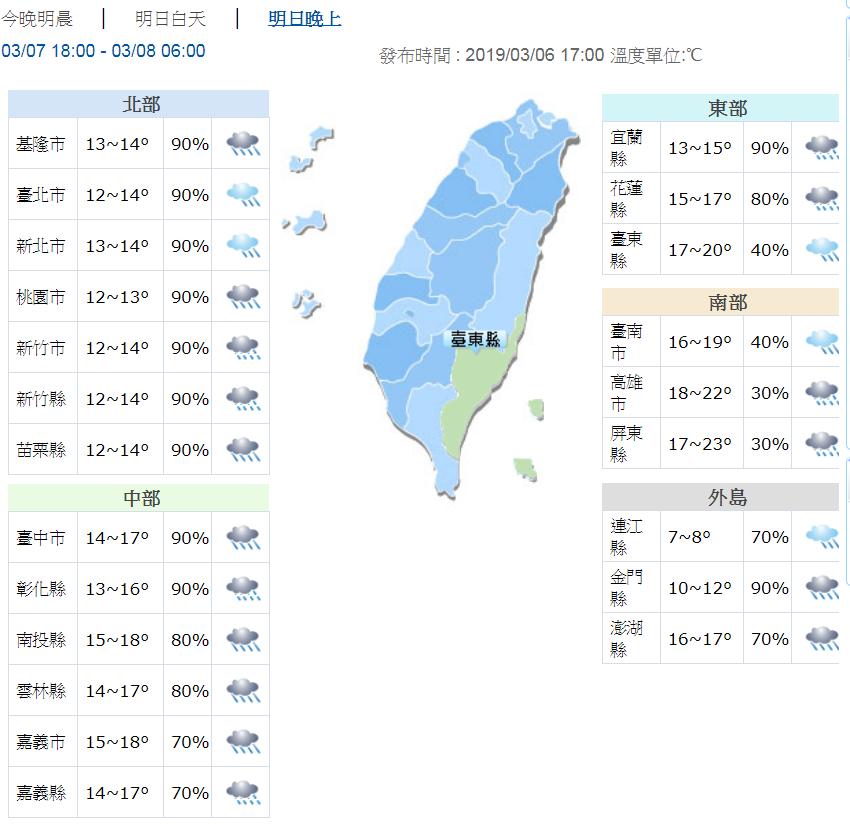 明晚到後天(8日)晨間,北台灣低溫下探11度,且會下雨,又濕又冷。圖/氣象局提供