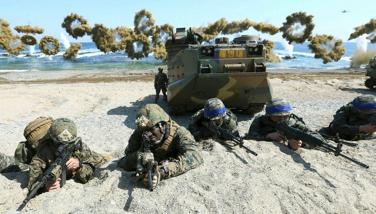 圖為2016年3月美國和南韓共同舉行的軍演。 美聯社資料照片