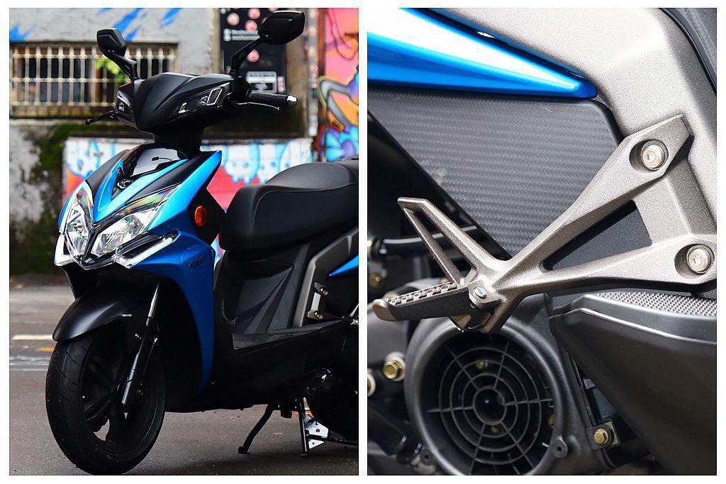 許多人年輕人心中的夢想車款KYMCO Racing S,車側鋁合金材質腳踏彰顯冷...
