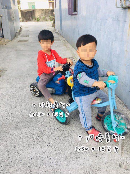 1歲半15公斤表弟體重追平5歲表哥。圖取自爆怨公社