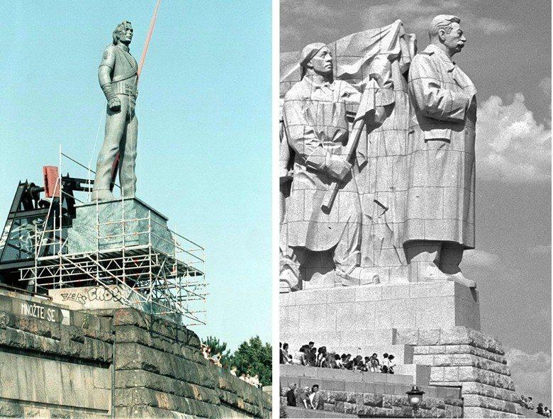 1996年流行樂巨星麥可.傑克遜在過去史達林雕像的位置豎立其雕像,形成有趣的對比...