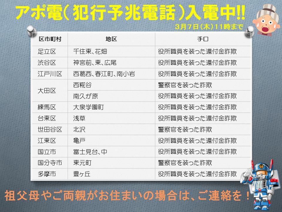 日本警視聽在今年3月7日的的宣傳,提醒民眾留意越來越猖狂的電話詐欺事件。 圖/警...
