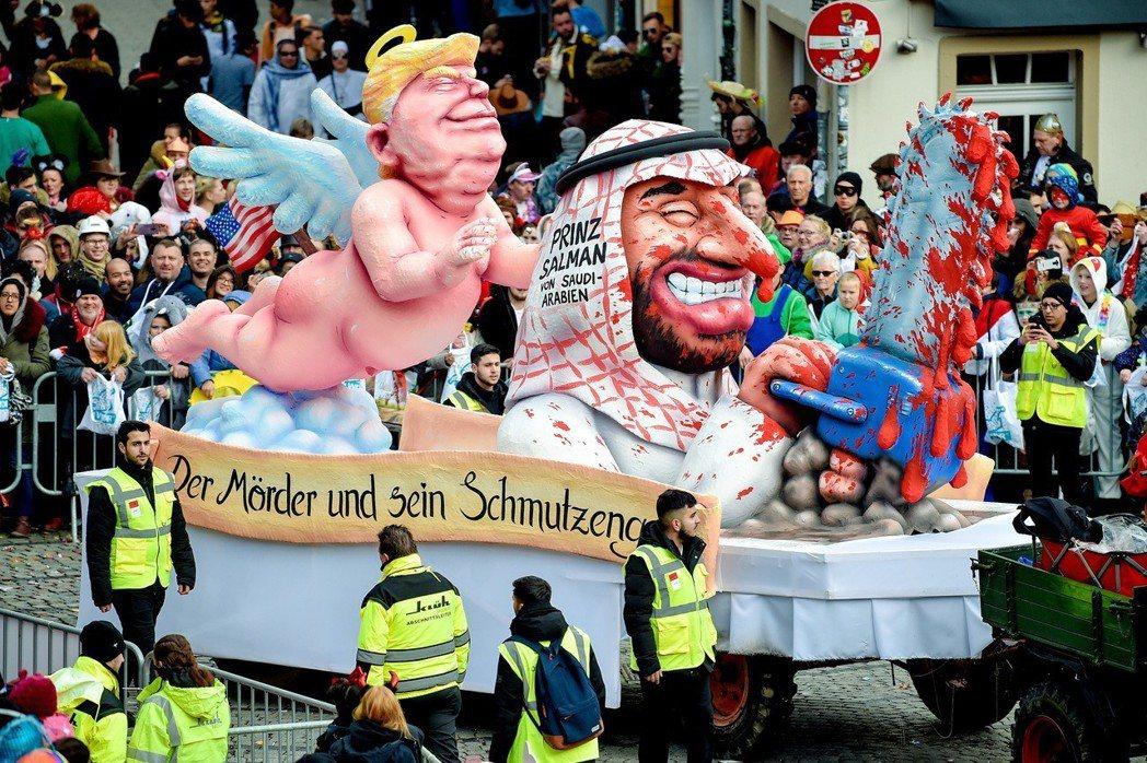 科隆玫瑰星期一的遊行活動之一,嘲弄政治人物與國際議題是家常便飯。 圖/歐新社