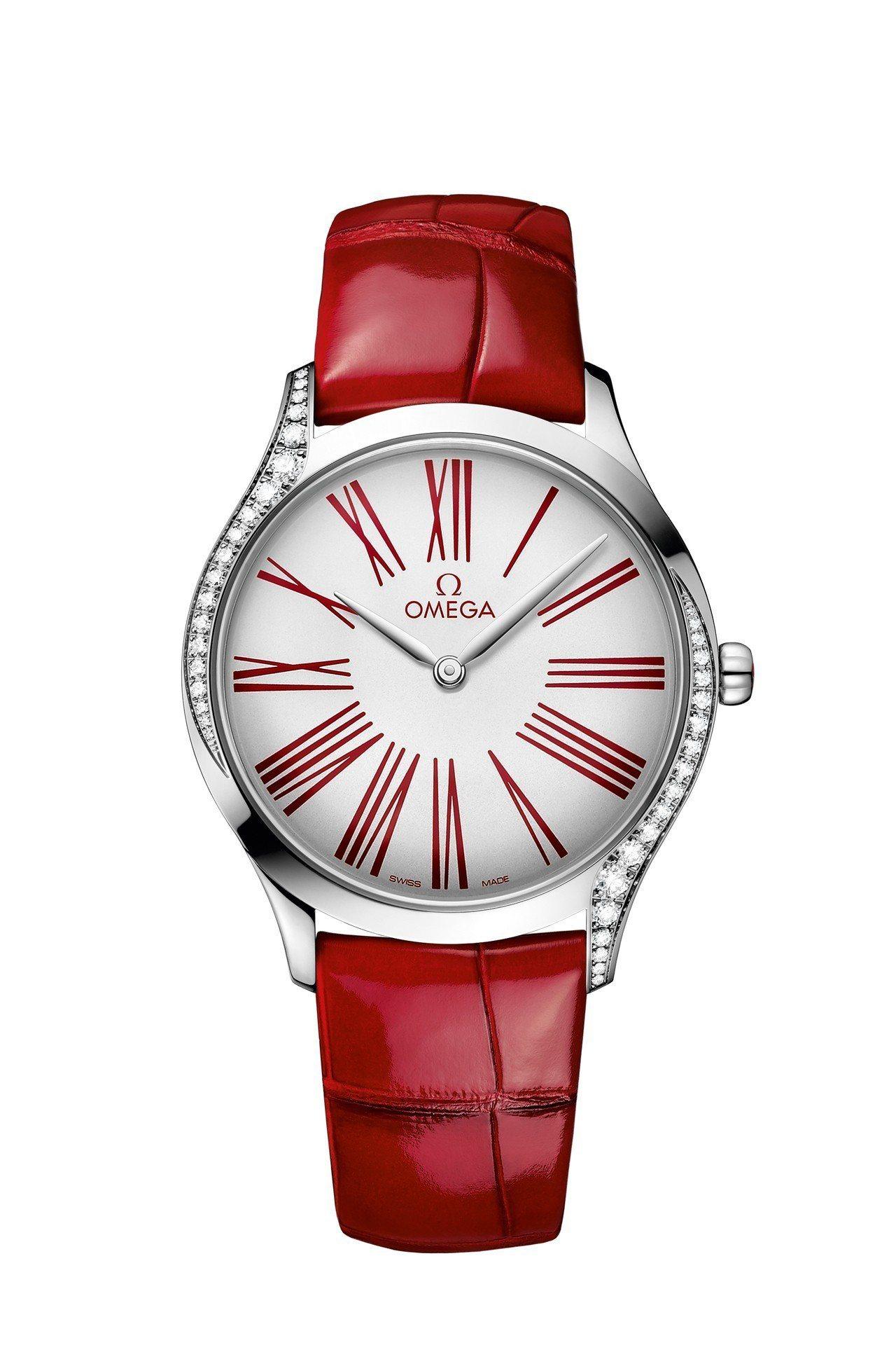 碟飛系列Trésor腕表,不鏽鋼表殼鑲飾38顆鑽石,使用歐米茄4061石英機芯,...