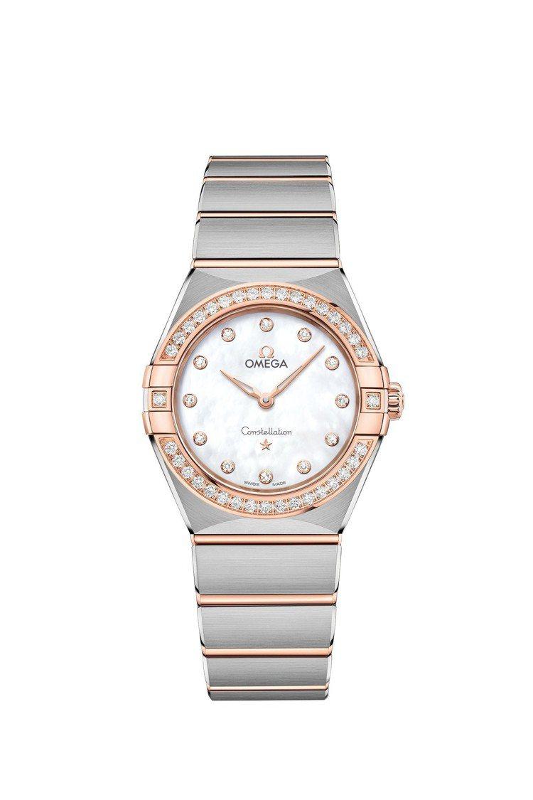 星座曼哈頓系列腕表,不鏽鋼表殼搭配Sedna Gold鑲鑽表圈,使用歐米茄406...