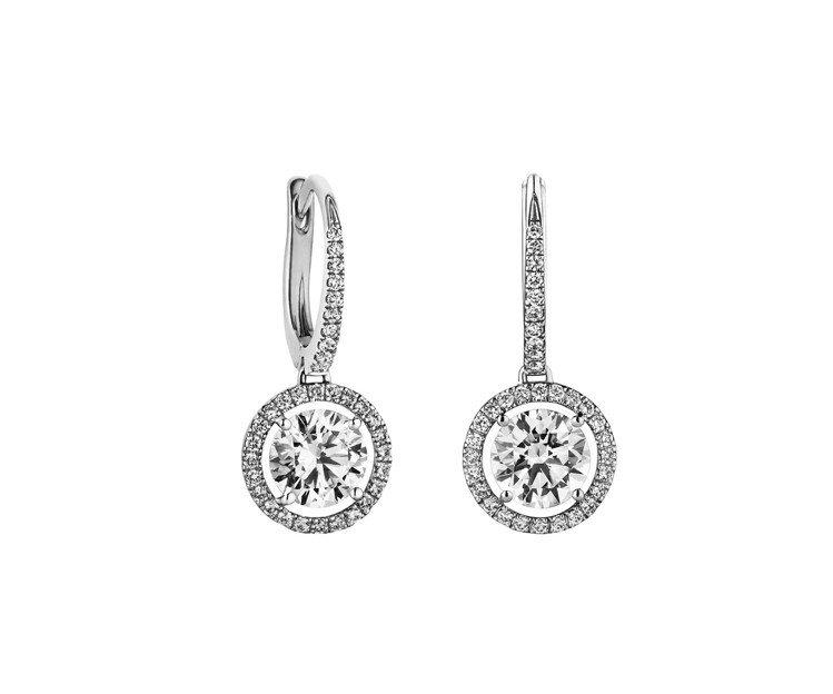De Beers Aura 垂墜式鑽石耳環,鉑金底座,鑽石總重0.51克拉,價格...