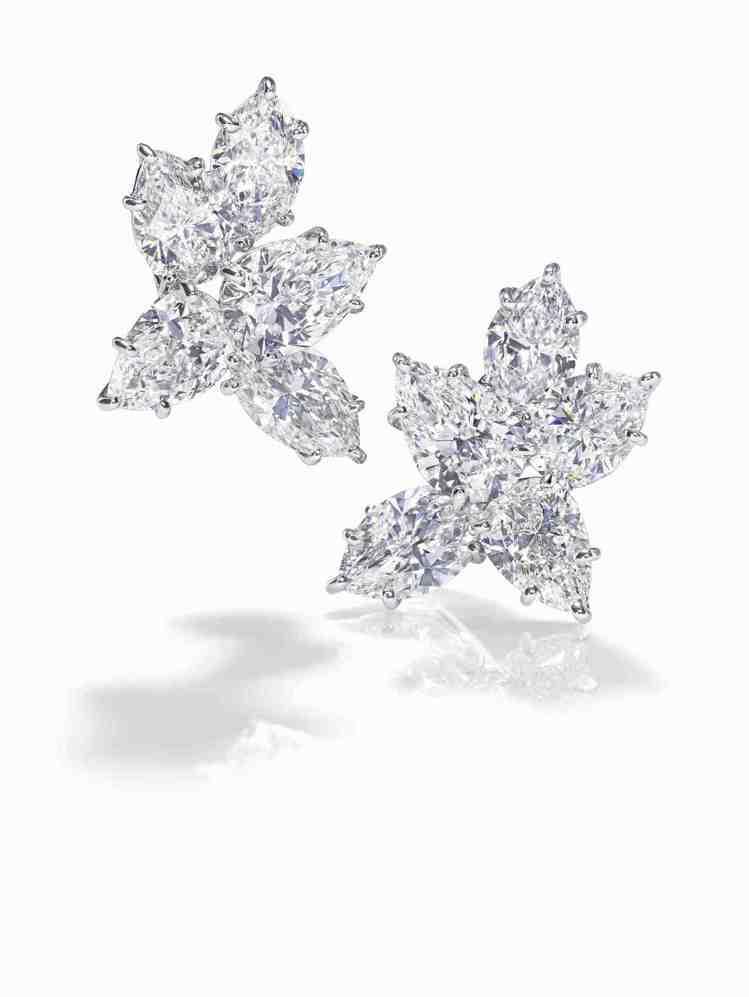 海瑞溫斯頓Winston Cluster鑽石耳環鉑金底座,鑽石約10.26克拉,...