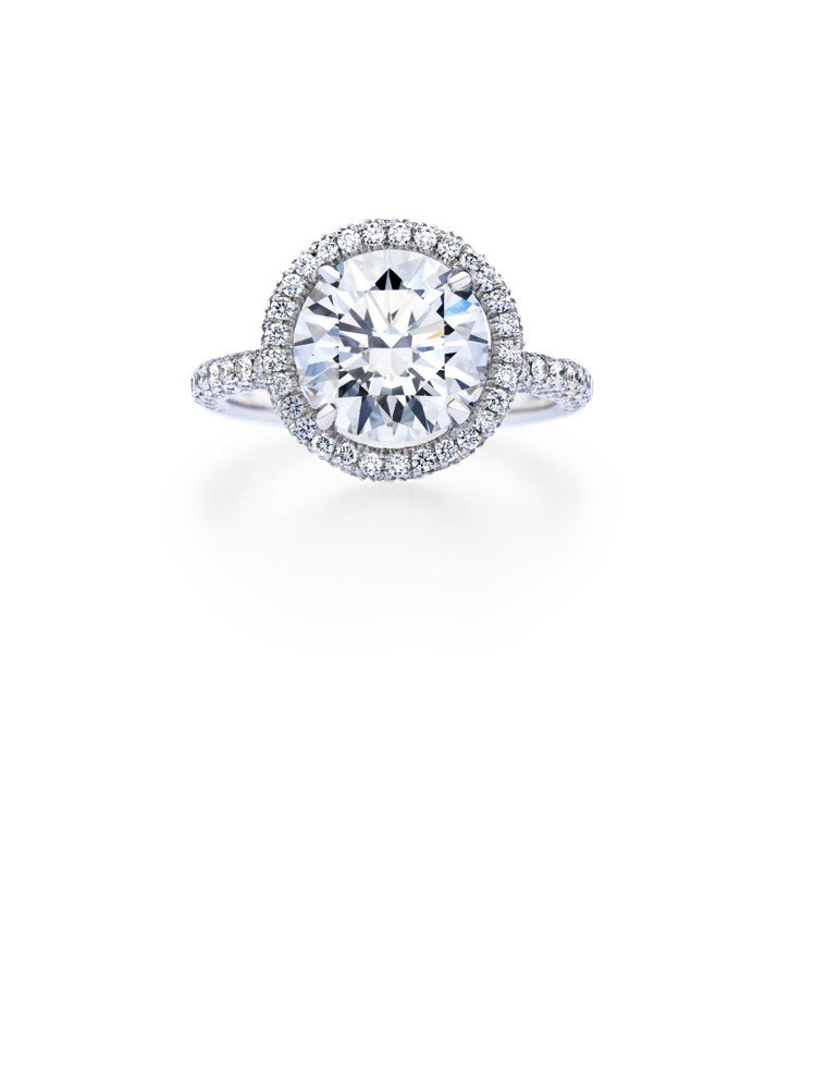 De Beers Aura 圓形明亮式車工單鑽戒指,鉑金底座,鑽石總重0.85克...