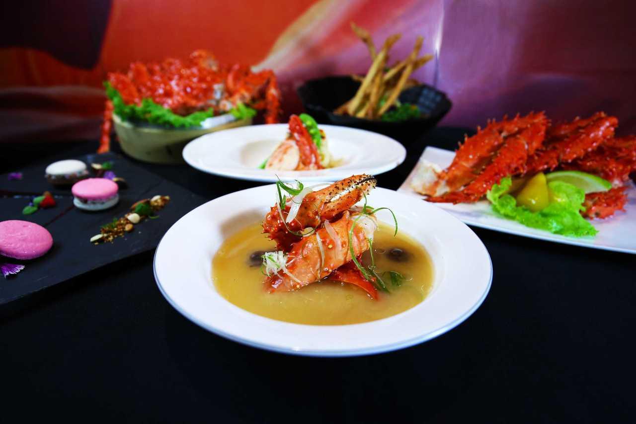 台南大億麗緻酒店「帝王蟹美食節」推出5道精選帝王蟹料理。圖/台南大億麗緻提供