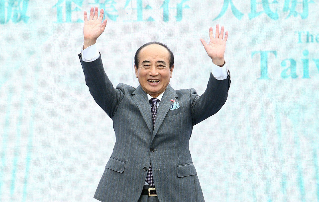 國民黨立委王金平今天上午在風雨中,於台北國際會議中心頂樓舉行記者會發表參選宣言,...