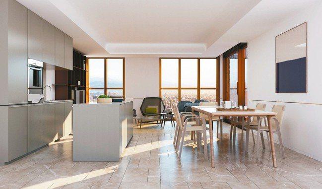 「琢豐」內部處處可見法式優雅(三D模擬圖)。 圖/陳正興攝影、大陸建設提供