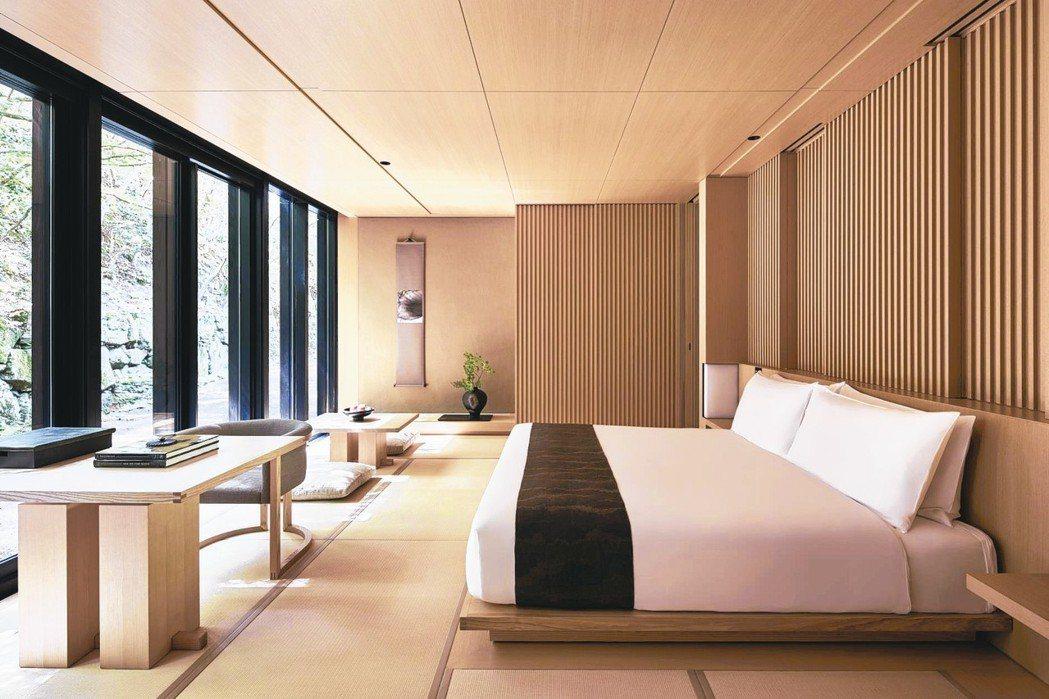 「京都安縵」將於11月啟幕,室內風格簡約卻富含日式巧思。 圖/安縵提供
