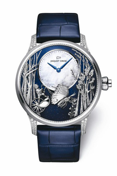 雅克德羅蝴蝶自動玩偶腕表,18K白金表殼搭配砂金石表盤,限量28只,約465萬2...