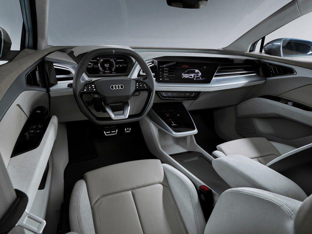 Audi Q4 e-tron Concept以駕駛導向的座艙設計。 摘自Audi
