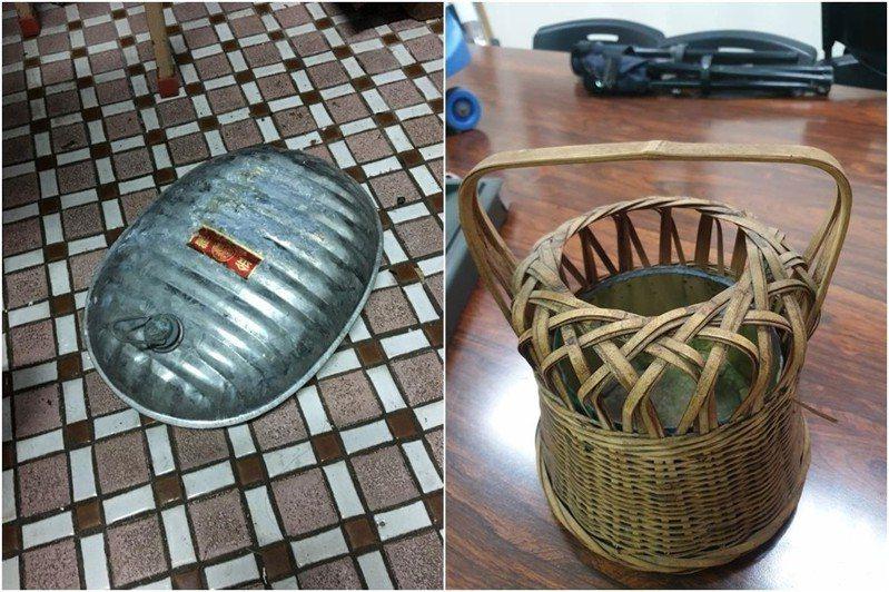 以前很多人都拿水龜與火籠當作暖爐取暖。圖左為「水龜」、圖右為「火籠」 圖片來源/爆廢公社