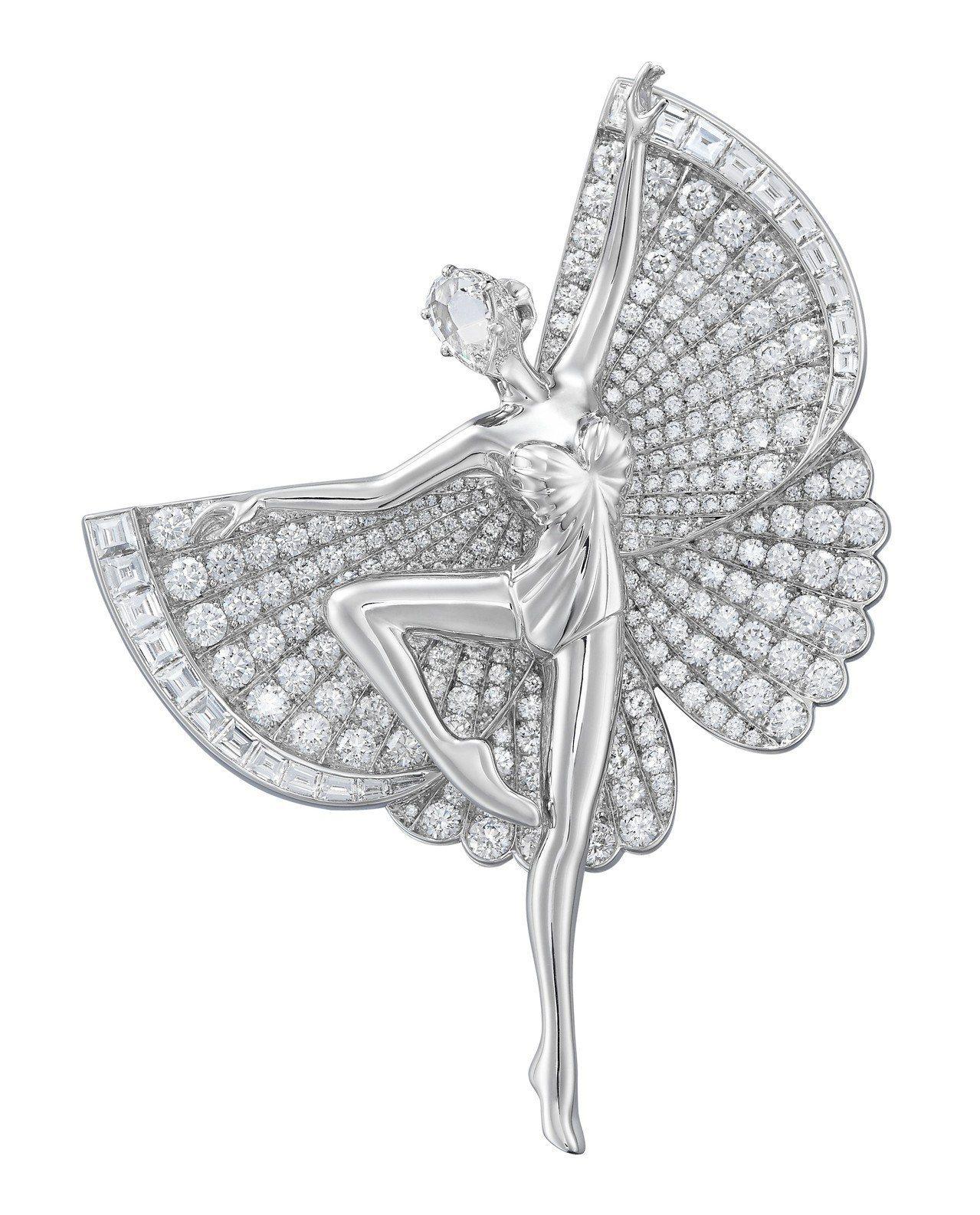 Ballerina 胸針2018年作品,白K金鑲嵌鑽石。圖/梵克雅寶提供
