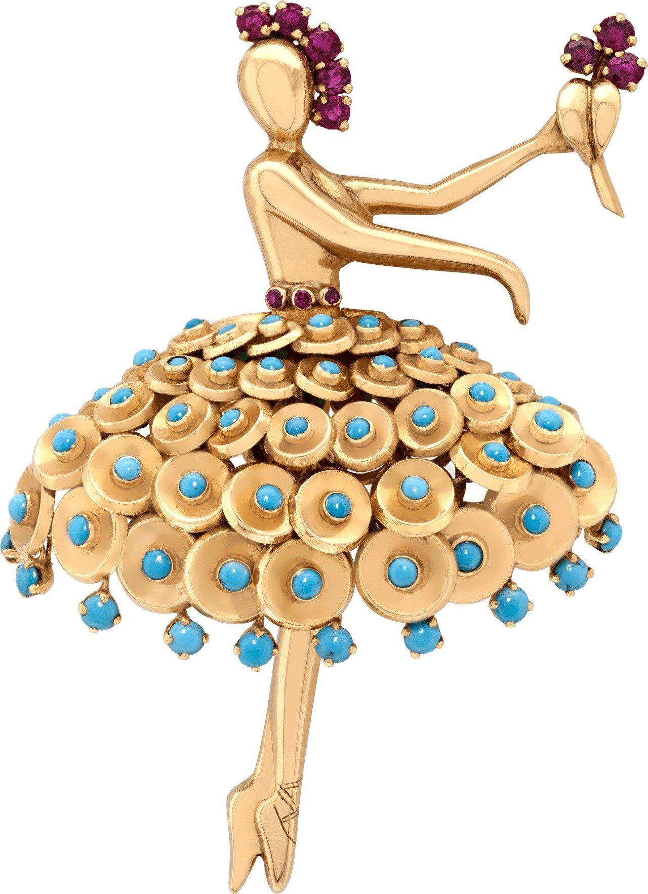 Danseuse Paillettes胸針 1955年作品,黃K金、玫瑰金、白K...