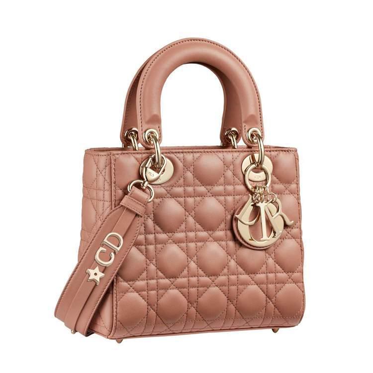 Dior My ABCDior胭脂粉籐格紋小羊皮提包搭配客製化掛飾背帶、120,...