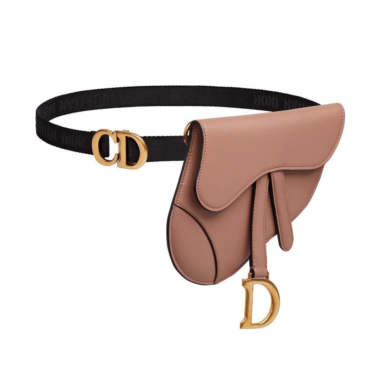 Dior Saddle胭脂粉小牛皮馬鞍腰包、56,000元。圖/Dior提供