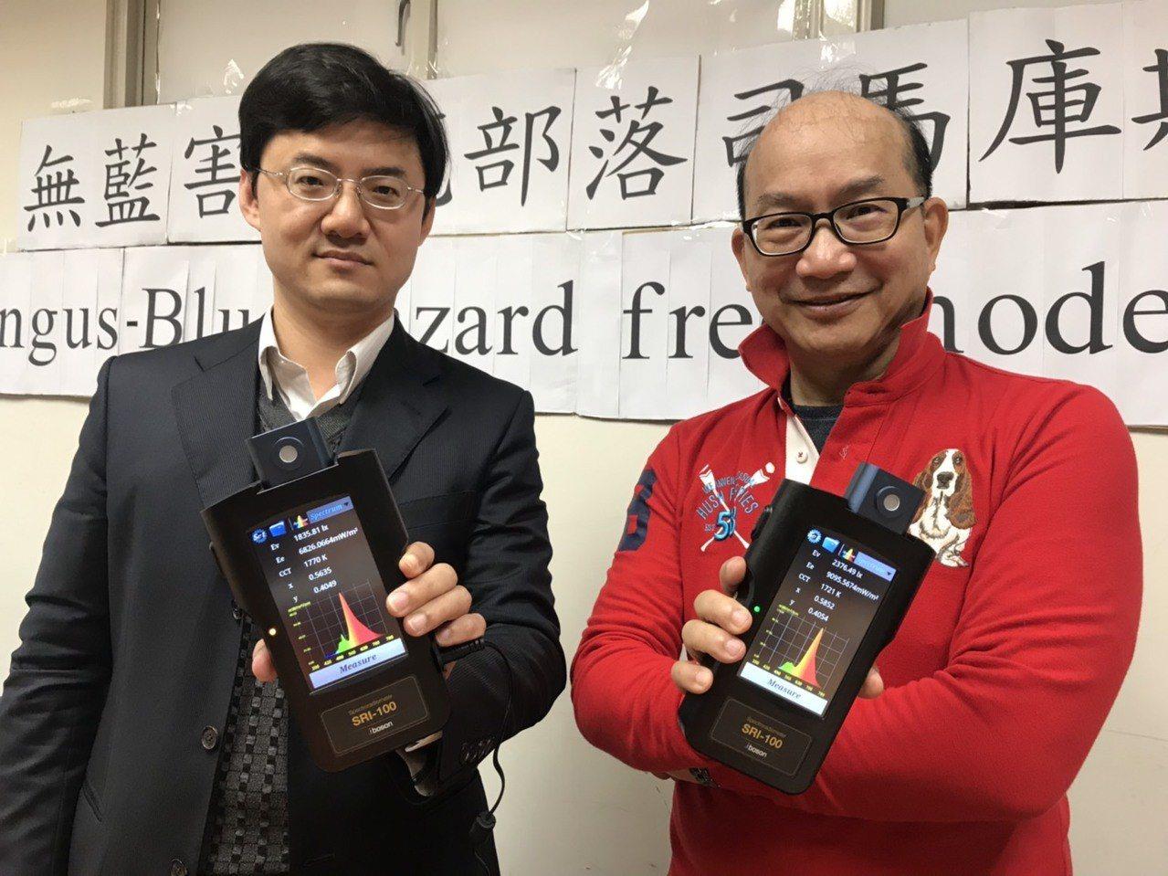 清大材料所教授周卓煇(右)與波色科技總經理王科順,展示領先全球量產的可攜式「光毒...