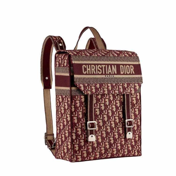Oblique酒紅色斜紋刺繡帆布後背包,售價12萬元。圖/DIOR提供