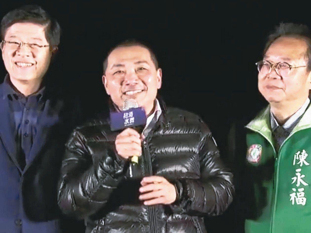 侯友宜(中)下周一禮貌性回訪柯文哲。 記者施鴻基╱攝影