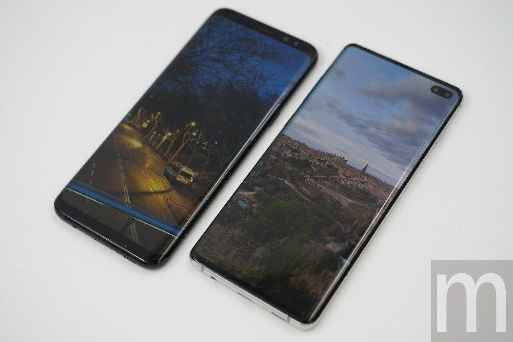 與採用Infinity Display螢幕設計的Galaxy S8+內容顯示比較