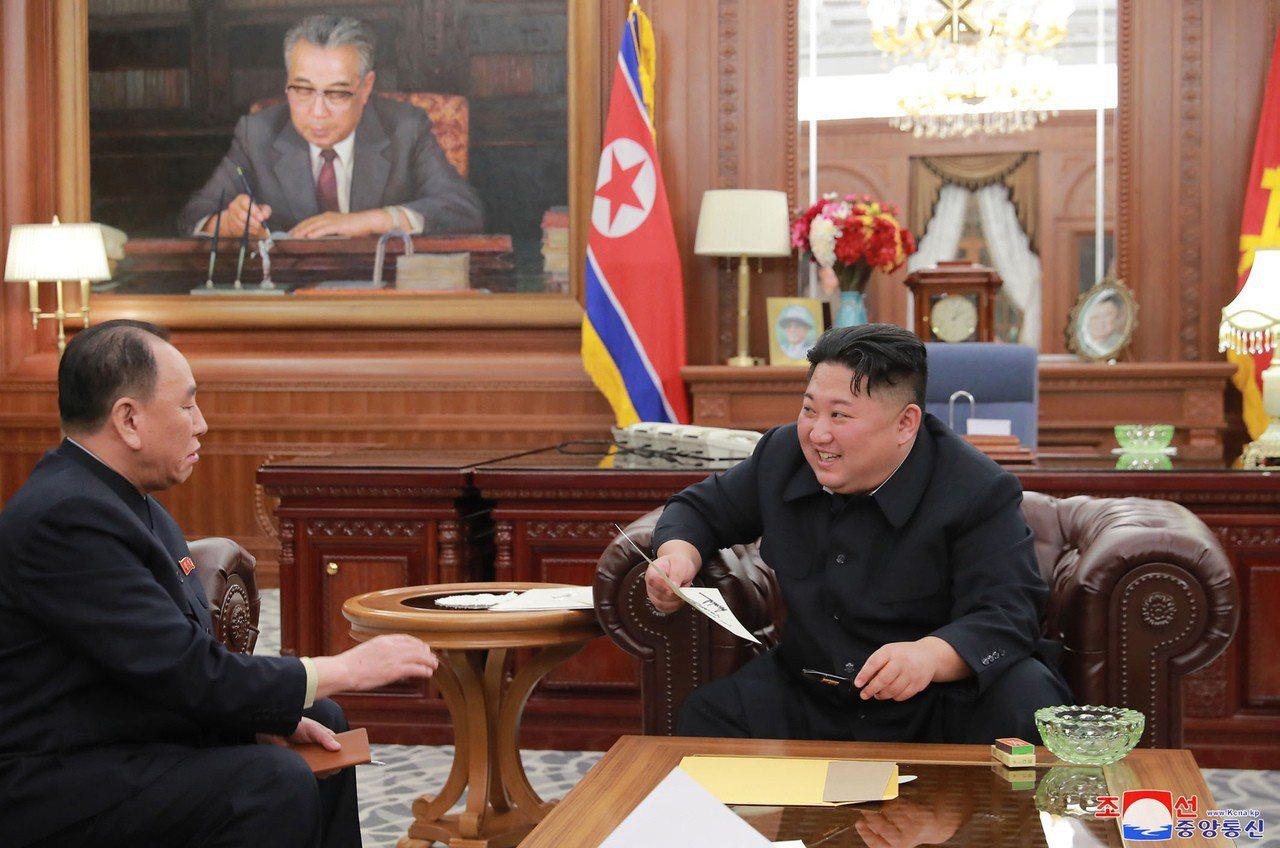 金英哲(左)深獲金正恩(右)信賴。美聯社