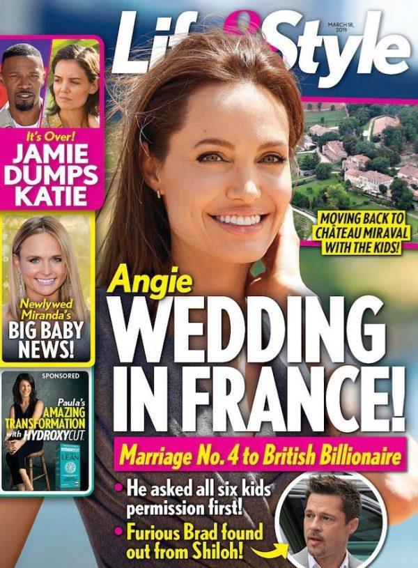 八卦雜誌封面報導安琪莉娜裘莉將在法國第4度結婚。圖/摘自Life & Style