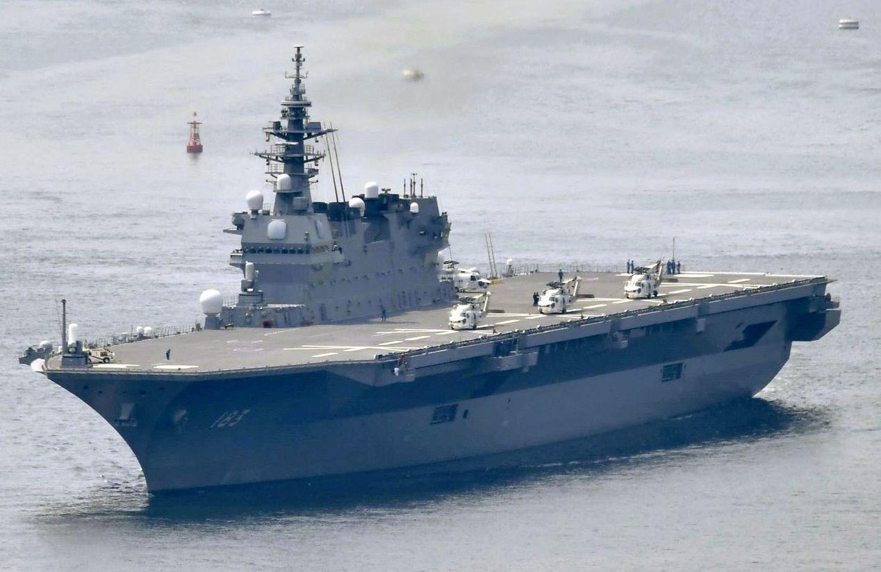 日本海上自衛隊護衛艦「出雲號」7月將停靠菲律賓蘇比克港。 (美聯社)