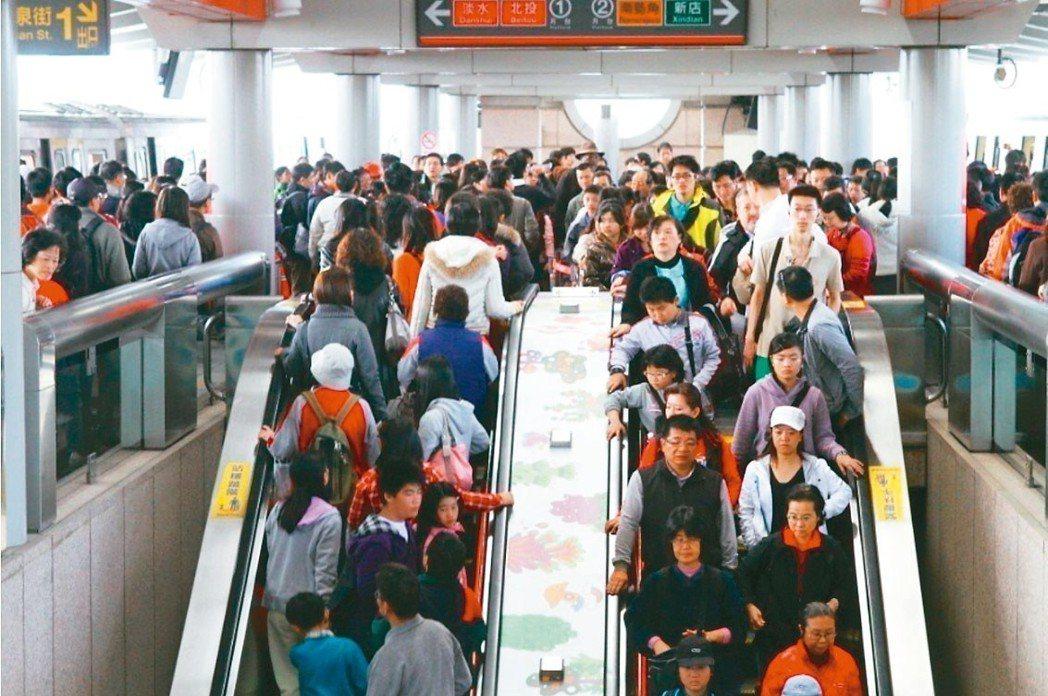 民眾下班搭捷運示意圖。 圖/聯合報系資料照片