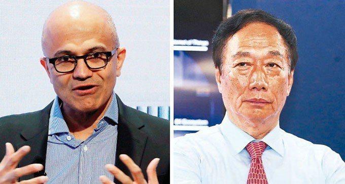 微軟執行長納德拉(圖左)、鴻海董事長郭台銘(圖右)。 路透、本報系資料庫