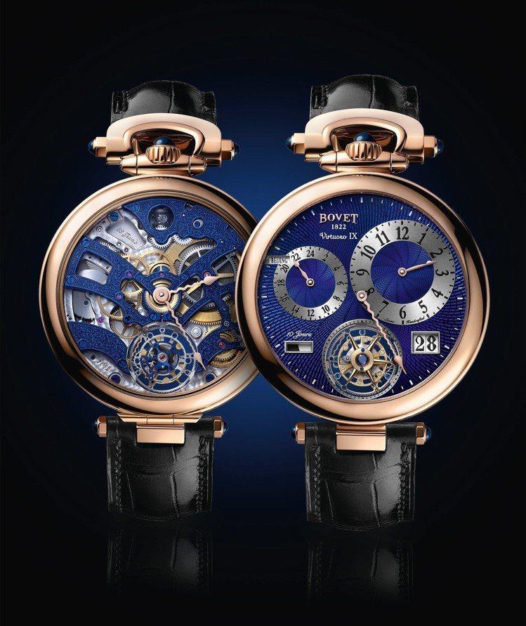 Virtuoso IX雙時區大日曆飛行陀飛輪腕表,正、反兩面有不同功能和設計。圖...