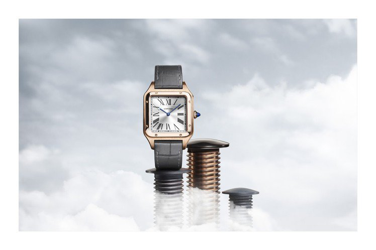 卡地亞Santos-Dumont系列腕表,18K玫瑰金表殼,搭載石英機芯。圖/C...