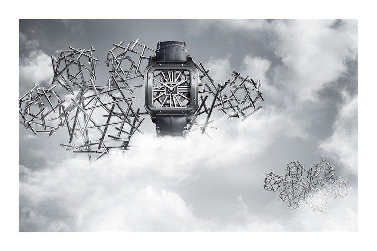 卡地亞Santos鏤空腕表,ADLC塗層精鋼表殼,搭載9619 MC型手動上鍊機...