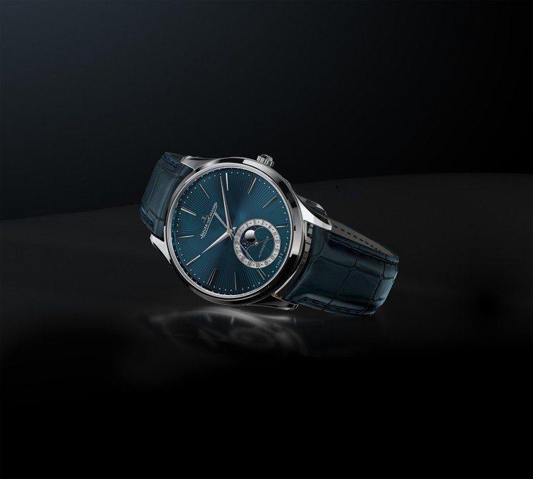 積家超薄大師系列月相琺瑯腕表,18K白金表殼搭配藍色扭索紋琺瑯表盤,限量100只...
